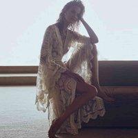 Abiti Mandala Mantra Kimono Summer Boho Lace Beach Cover-Up Swimwear Lungo Cardigan Bell Sleeve Casual Women Giacca Camicia H5XG