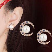Silver smycken naturlig vit pärla halvmåne blå spinel inlaid med platina och rosa guld örhängen ttz009ed