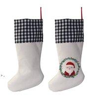 Sublimación búfalo a cuadros navidad medias 4 colores en blanco halloween calcetines de caramelo santa regalo bolsa de navidad oranment hwd9232