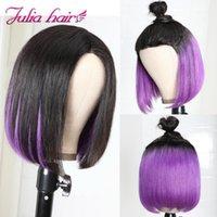 "Peruvian Hair Highlight Bob Lace Wig Silk Base 8""-14"" Short Ombre 1B & Purple Julia Virgin Human Straight1"
