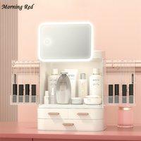Boîte de rangement cosmétique de luxe à LED Miroir de maquillage HD Miroir Montre Collier Bijoux Bijoux Robinet de stockage Rouge de lèvres Masque Articles de toilette Organisateur Express C0318