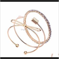 Jewelry Drop Delivery 2021 Bow Arrow Diamonds Charm Cuff Bracelet For Women Fashion 3 Pieces Golden Bangle Bracelets Set Girl Trendy Western