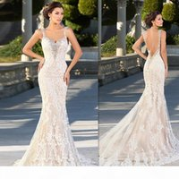 New Luxury Crystal Zuhair Murad Wedding Dresses Lace V Neck Sheer Strap SWAROVSKI Bridal Gowns Cathedral Train Free Petticoat Free Veil