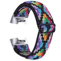 Reloj Bandas de una pieza Elasticidad Elasticidad Primavera Correas trenzadas Ajustable Nylon Relojes Compatible para FitBit Cargar 2 3 4 Versa 3 Sense Band
