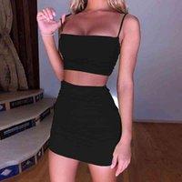 Vestido Sexy Women's Summer Strap 2021 para mujeres Trajes de dos piezas Cami ES Cultivo Top Top Bodycon Falda Mini Club Prom Tank