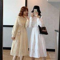QWEEK 2021 Autumn Lace Sweet Elegant Dress Woman Vintage Retro Evening Party Dresses Korean Kawaii Long Sleeve Female Clothes G1011