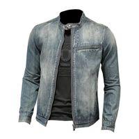 Vestes pour hommes Vintage Biker Slim Fit Fit Moto Racing Racing Vêtements De Vêtements De Vêtements De Voie d'exposition Bleue Bleu Boudre-vent Tops Plus Taille M-4XL