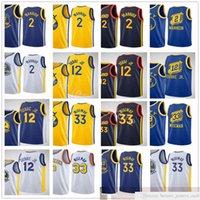 Impreso New City Basketball 33 James Wiseman Jerseys Blue White Yellow 2 Nico Mannion 12 Kelly Oobre Jr. Jerseys
