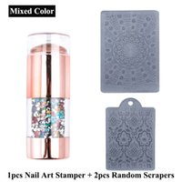 Fashion Nail Art Templates Seal with Scrapers 3 pcs Set DIY Double Head Nails Stickers Stampers Manicure Tools