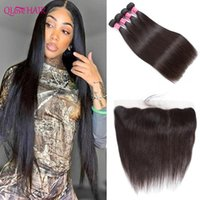 Human Hair Bulks Qlove Straight Bundles With Frontal 3 4 Lace Burmese Weave And Closure