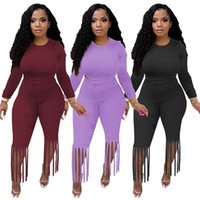 Women Fall winter clothes Outfits Two Piece Set Solid Tracksuits Long Sleeve Sweatshirt TOP+tassels Pants 2pcs Casual black Sports Suits Outdoor jogging suit 5601