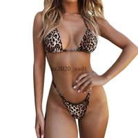 European and American women's hot style 2019 summer cross-border foreign trade sexy halter neck strap leopard print vest briefs swimsuit cover