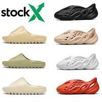 2021 confortable kanye glisse pantoufles occidentales sable sable sable brun brun hommes femmes plage résine diapositive sandale graffitis graffitis graffitis caoutchouc 36-45