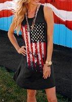 США флаги женские платья дизайнер без рукавов контрастный цвет полосатый печать женские экипаж шеи платье свободно женские повседневные платья