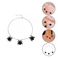 Chokers Sturdy Accessory Three Black Spider-Shaped Pendant Necklace Jewelry