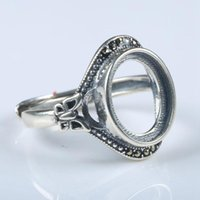 Cluster Rings 925 Sterling Silver Vintage Ring Engagement Wedding Women Semi Mount 10x12mm Oval Cabochon Art Nouveau Adjustable Wholesale
