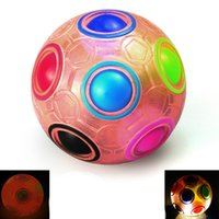 Fidget decompression toys Rotating luminous rainbow ball pressure reducing puzzle gyro children's intelligence round 12 hole mixed color magic balls toy
