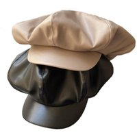 Beanies F42F French Style Painters Hat Pu Leather Beret Solid Plain Causal Beanie