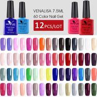 12 stücke * 7.5ml venalisa lack schnelle sendung original kunst maniküre 60 farben aufweiten lack lack led uv gel nagellack