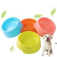 Puro colore portatile pet gatto cane rotondo ciotole di plastica facile pulire cucciolo cucciolo piatto piatto alimentazione ciotola divertimento bevanda animali domestici forniture DHD8678