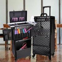 Koffer Frauen Große Kapazitätswagen Kosmetiktasche Rolling Gepäcktasche, Nägel Make-up Toolbox, mehrschichtige Schönheits-Tätowierungskoffer