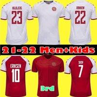 # 10 Eriksen Danmark Soccer Jersey 2021 Homens Dinamarca Casa Vermelho Soccer Shirts Manga Curta 2021/2022 Personalizado Fora Branco Futebol Uniformes em estoque