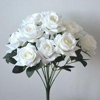 İpek Gül Çiçekler Buketleri Faux Güller Buket 12 Kafaları Ile Düğün Ev Ofis Restoran Dekorasyon (Mor Pembe)