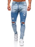 Men's Jeans Mens Ripped Distressed Skinny Denim Pants Casual Stretch Slim Fit Trousers