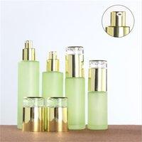 Garrafa de vidro verde fosco frasco frasco frasco de loção de pulverizador Embalagem cosmética vazia com tampão plástico 30ml 40ml 60ml 80ml 100ml 120ml