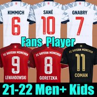 21 22 FC Bayern Munich Lewandowski Kimmich Goretzka 세 번째 축구 유니폼 홈 레드 멀리 검은 Sane Gnabry Muller Davies 2021 2022 남자 + 키트 키트 축구 셔츠