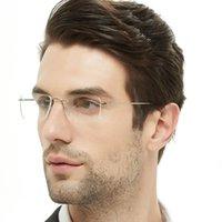 Occi Chiari Gafas Marcos Titanio Rimless GLSSES Marco Hombres Clear Lense Decorative Cadre Prescripción óptica Myopia Gafas