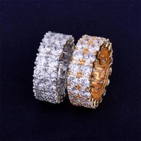 Hip Hop Iced Out Ring Micro Pave CZ Stone Tennis Rings Men Women Charm Luxury Jewelry Crystal Zircon Diamond Gold Silver Plated 1246 B3