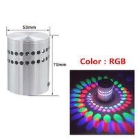 Lámpara de pared RGB Spiral Hole LED Luz con control remoto Colorido 3w Moderno Techo Balcón Pórtico