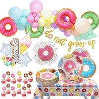 Donuts Party Birthday Donut Grow up Macaron Balloons Backdrops Forniture di ciambelle Ragazzi Ragazza Giorno della nascita Decor Carta Tableware Decoration