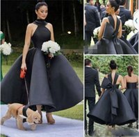 Black High Neck Ball Gown Prom Dresses With Big Bow Satin Ankle Length Evening Gowns Saudi Arabia Formal Party Vestidos