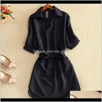 Womens Clothing Apparel Drop Delivery 2021 Shirts Summer Casual Dress Fashion Office Lady Solid Red Chiffon Dresses For Women Sashes Tunic La