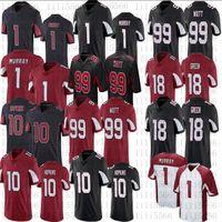 남자 1 Kyler Murray Football Jerseys 10 Deandre Hopkins 99 J.J. 와트 18 AJ 녹색 고품질 스티치 저지
