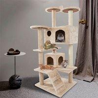 Nouvelle activité d'escalade de chat de 52in grimpant meubles d'arbre meubles partagés chats nid saisonnier carte chaton jouant en gros de beige