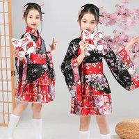 Ethnic Clothing Kids Girls Japanese Kimono Black Red Geisha Dresses Children Dance Lolita Tea Party Dress Yukata Robes Anime Cosplay Costume