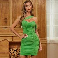 Seakyla 2021 летние зеленые одно плечо женщины Bodycon повязка платье сексуальное с коротким рукавом драпированные знаменитости вечерние вечеринки повседневные платья