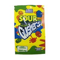 Sour Gushers Exotic Mylar Bag Infused Smellproof Dustproof 500mg 600mg bits Airheads starburst warheads Medibles Edibles bags
