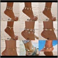 Anklets Drop Entrega 2021 Bohemian Sea Shell Anklet para las mujeres Cuentas de semillas Cadenas Beach Barefoot Toble Pulsera en la pierna Boho Jewelry LX0265 OQK