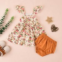 Girl's Dresses Set Infant Summer Baby Girls Floral Print Butterfly Dress Sleeveless Pullover Tops Shorts Outfits Kids Cotton Clothes