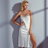 100% Real Silk Nightdress Brand luxury Natural Silk Nightwear Ladies Nightgowns Women Sexy Lingerie Backless Sleepwear Female