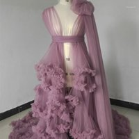 Wraps & Jackets Illusion Maternity Tulle Po Shoot Robe Pregnant Woman Pography Tiered Ruffles Dress Bridal Party Birthday Outfits Gowns1