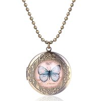 Pendant Necklaces 2021 Handmade Butterfly Long Necklace Retro Bronze Po Frame Vintage Jewelry Student Mother Gift