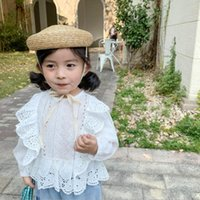 Shirts Spring Autumn Girl White Blouse Top Cotton Lace Shirt For Girls Long Sleeve Kids Blouses And Tops Children Clothes