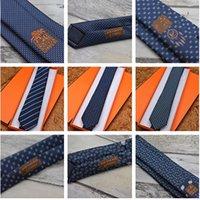 브랜드 남성용 넥타이 프리미엄 100 % 실크 넥타이 원사 염색 비즈니스 하이 엔드 선물 상자 넥타이 7.0cm