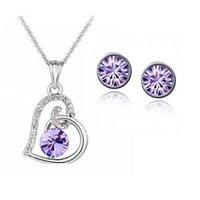 Hart ontwerp hanger ketting oorbellen sieraden set gemaakt met Swarovski elementen voor vrouwen partij meisje Valentijnsdag bijoux geschenk 1141 T2