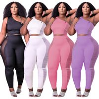Sexy Women Yoga Sports Wear Plain Tracksuits Tank Tops Mesh Leggings Slim Jogger Suit Party Outfits Summer Spring Autumn Clothing Two Pcs Set Active Sweatsuit 5602